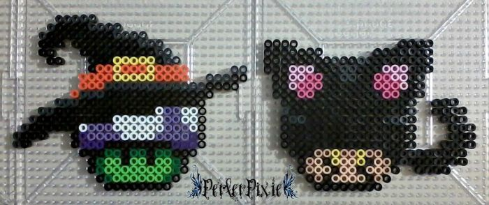 A Witch and Black Cat Mushrooms by PerlerPixie