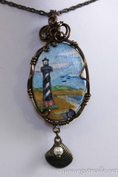 Original Painting Lighthouse Pendant by youvegotmaille