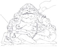 Jabba the hut from star wars drawing by electronicdave