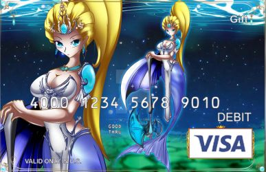 Mermaid warrior - Visa gift card by hachimitsu-ink