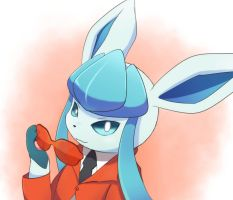 Glaceon in a Team Flare Grunt outfit by asdfg21