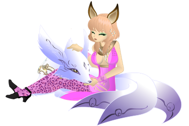 Grimmy with pet by akeya22