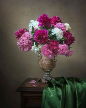 Still life with bouquet of the peonies by Daykiney