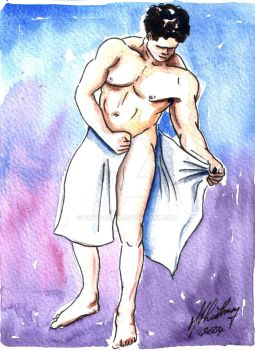Male Nude. Purple + Blue. 9 by Pinkpasty