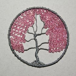 Silver and Pink Crystal Tree of Life pendant by craftymama