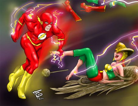 The Flash and Hawk Girls 3rd Tickle by Fantasy-Play