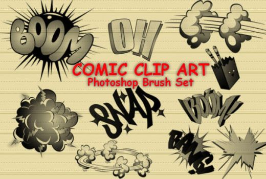 14 Comic Cartoon PS Brushes by fiftyfivepixels