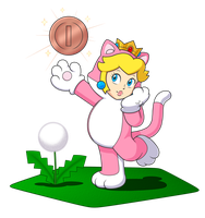 Cat Princess Peach and her lucky pink gold coin by IndigoWildcat