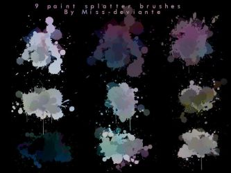 9 Paint Splatter Brushes by Miss-deviantE