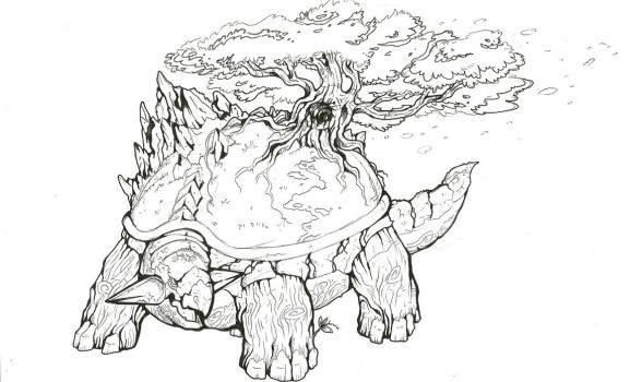 Torterra-colorless by TheWolfMaria
