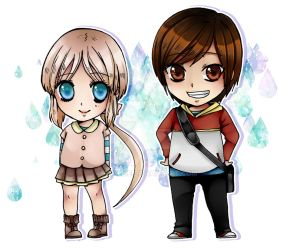 Chibis Ame y Sam by Azallie