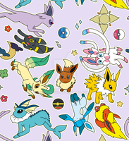 Colorful eeveelutions! by Neoncito