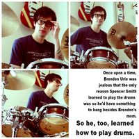 brendon bangs drums. by four-panel-fanfics