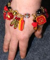 Red Hot Dog Charm Bracelet by mintdawn