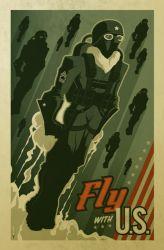 'fly with U.S.' poster by strongstuff