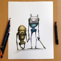 Jake and Finn Adventure Time Sketch by AtomiccircuS