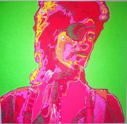 Bowie fluorescent collage by Sculptbrown