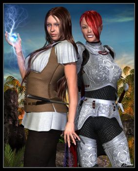 Amy The Mage and Robyn The Knight by celticarchie