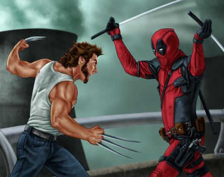 Deadpool vs. Wolverine by dragynsart