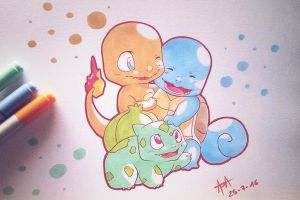 Pokemon - Kanto Starters (Traditional) by 7Repose