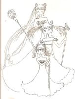 Sailormoon trio outlines by cupcakedoll