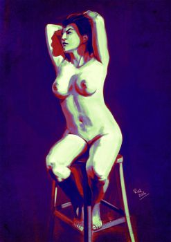 Nude, sitting (value study) by ruzkin