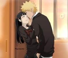 Commission - Naruhina - Au / Highschool by psyclopathe