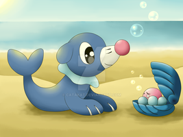 Popplio and Clamperl by Catakat
