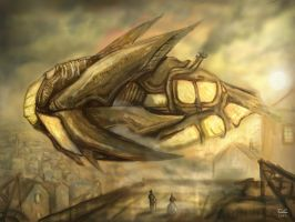 Transvictorian Steam-Airship by Cinvira