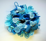 blue ''K'' initial brooch by RibbonsandClay