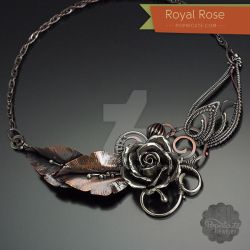 Royal Rose Argentium Silver Copper Necklace by popnicute