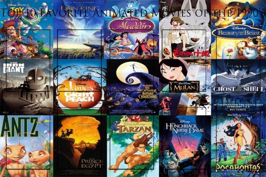 Top 10 Animated Movies of the 1990's Meme by JackSkellington416