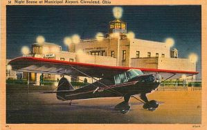 Night Scene Postcards - Cleveland Airport by Yesterdays-Paper