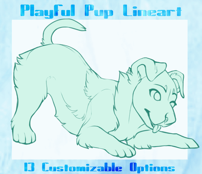 {P2U} Playful Puppy Customizable Lineart by SilverPocky