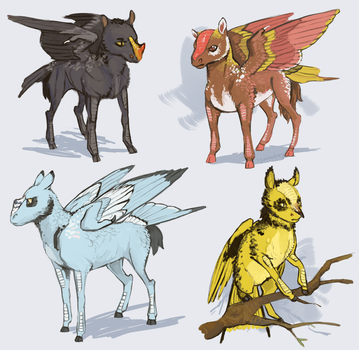 Some Sketches of Wild Pegasi by Iguanodragon