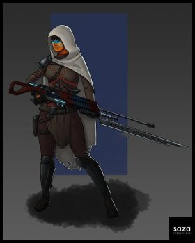 Space Mercenary Character Design by Saza-Productions