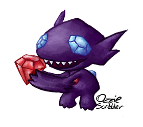 Chibi commission for skarchomp: Sableye by OzzieScribbler