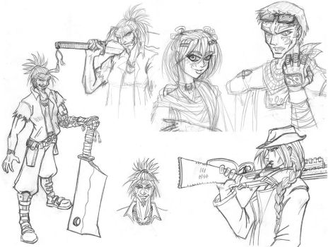 Lucky 7 Gang sketches by GABB3R