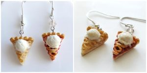 Apple / Cherry pie with ice cream earrings by minivenger