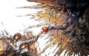 Death Note Ryuk Yagami Light Apples Desktop 2229x1 by gelatin95