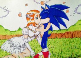 Elise and Sonic in Love by AngelOfStrenght