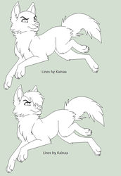 Running Wolf Line art by Kainaa