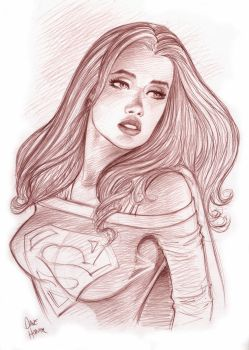 Supergirl Portrait Sketch by Tarzman