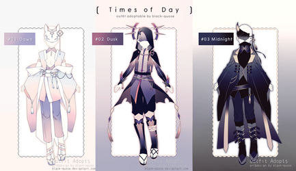 [CLOSED] Times of Day Outfit Adopts | Auction by Black-Quose