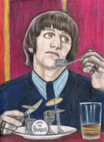 Ringo Starr eating drums by gagambo