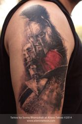 Leonidas Tattoo (300 Movie) by Sunny Bhanushali by Javagreeen