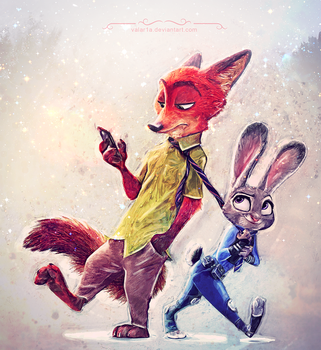 Judy Hopps and Nick Wilde by valar1a