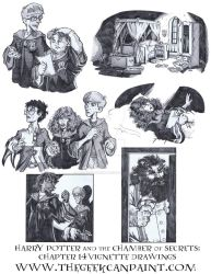 Harry Potter: Book 2 Chapter 14 Vignette Drawings by TheGeekCanPaint