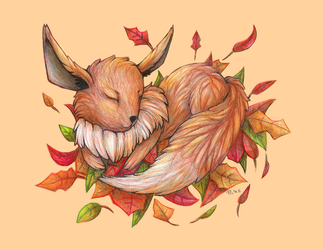 Eevee and Leaves by Drasamax