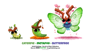 Daily 1325. Caterpie/ Metapod/ Butterfree by Cryptid-Creations